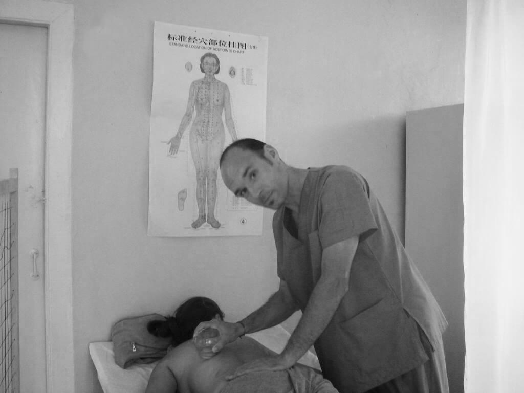 At Ulaanbaatar hospital cupping patient